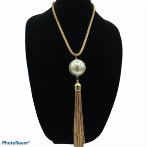 Beautiful Large Pearl Bead Tassel Necklace
